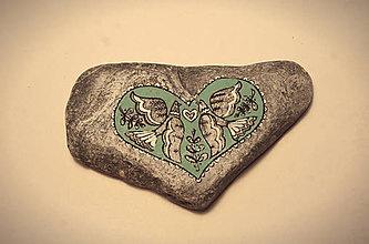 Dekorácie - Prírodný kameň - folk LOVE 02 - 7219910_