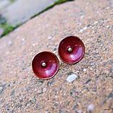 Náušnice - Červené mištičky - 7218059_