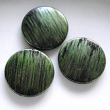 Korálky - Metalíza plast 31mm-1ks (zelená) - 7220689_