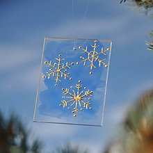 Dekorácie - Sklíčko so zlatými snehovými vločkami - 7218426_