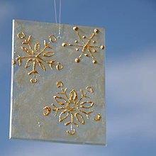 Dekorácie - Sklíčko perleť so snehovými vločkami - 7218440_