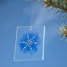 Dekorácie - Sklíčko so striebornou snehovou vločkou - 7218444_