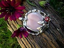 -  cínovaný prívesok - ružový achát botswana - 7217706_