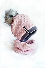 zimná súprava s menom a odopínacím brmbolcom Pink & dark gray...alebo farbu si vyber!