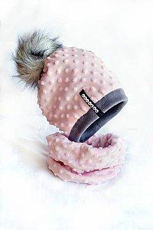 Detské súpravy - zimná súprava s menom a odopínacím brmbolcom Pink & dark gray...alebo farbu si vyber! - 7217542_