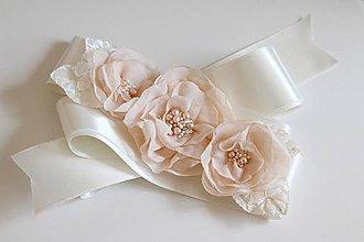 Opasky - Marhuľový opasok s kvetmi - svadobný - 7217822_