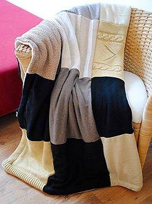 Úžitkový textil - Béžovo-čierna deka - 7219048_
