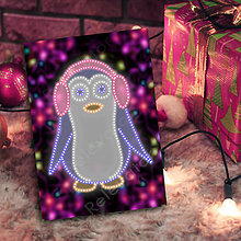Grafika - Grafické vianočné svietidlo tučniak - klapky na uši (svetielka) - 7219989_