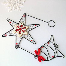 Dekorácie - záves s hviezdičkou a zvončekom - 7222932_