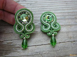 Náušnice - Simple teardrop...soutache (Green/Silver) - 7221799_