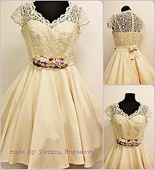 Šaty - krémové svadobné šaty - 7221993_
