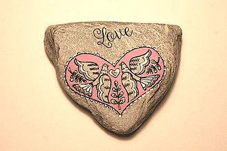 Dekorácie - Prírodný kameň - folk LOVE 01 - 7223232_