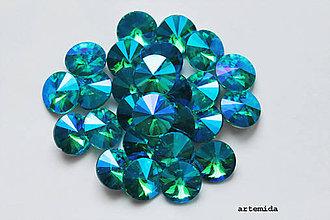 Komponenty - kabošon sklenený aquamarine AB 12mm - 7223424_
