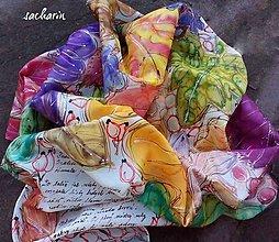 Šatky - Šepot listov- hodvábna maľovaná šatka - 7223166_