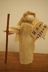 Bábiky - Mojžiš (výška 12-14 cm), šúpolie, drevo (palica) - 7223595_