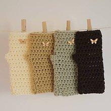 Rukavice - háčkované rukavičky Motýliky - 7221570_
