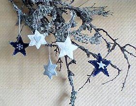 Dekorácie - Vianocné ozdoby hviezdičky modré - 7220962_