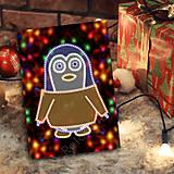 Papiernictvo - Grafické vianočné svietidlo tučniak - 7223002_