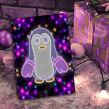 Papiernictvo - Grafické vianočné svietidlo tučniak - rukavice (svetielka) - 7221883_