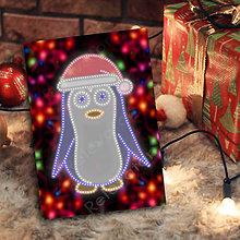 Papiernictvo - Grafické vianočné svietidlo tučniak - čiapka (svetielka) - 7222805_