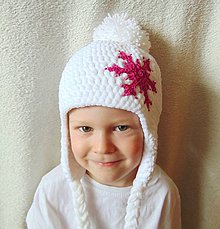 Detské čiapky - Biela plyšová s vločkou :) - 7224975_