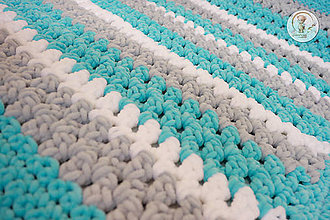 Textil - Háčkovaná detská deka tyrkysová - 7224291_