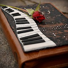 Papiernictvo - Organizér pre pianistku - kožený, s vymeniteľným obsahom - 7226992_