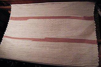 Úžitkový textil - Tkaný bielo - ružový koberec - 7227646_