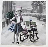 Papier - Servítka V29- Dievčatko so sánkami - 7228967_
