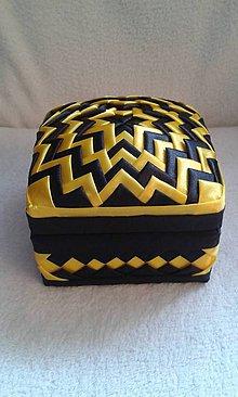 Dekorácie - Šperkovnica žlto-čierna - 7229804_