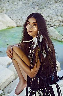 Ozdoby do vlasov - Veľký prírodno-čierný vlasový hair clip - 7230625_