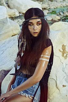 Ozdoby do vlasov - Rocková multifunkčná pletená čelenka z kožičiek - 7230771_