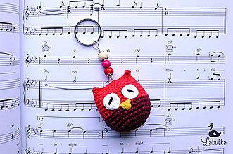Kľúčenky - Prívesok - sovička červeno-bordová - 7232301_