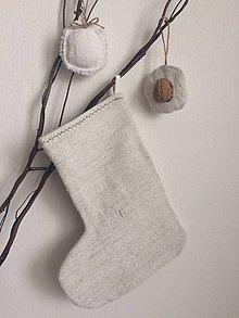 Dekorácie - Mikulášska čižma z ručne tkaného ľanu NATUR - 7229792_