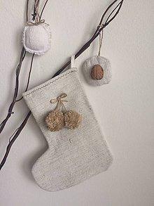Dekorácie - Mikulášska čižma z ručne tkaného ľanu NATUR POM POM - 7229845_