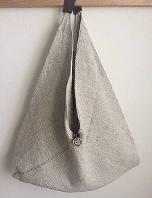 Nákupné tašky - Veľká ľanová taška s koženou rúčkou 54x54 cm - 7230199_