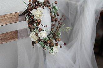 Ozdoby do vlasov - podzimní věneček s růžemi - 7232426_