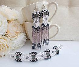 Sady šperkov - Bielo-čierny makramé set náramok a náušnice - 7231852_
