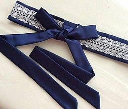 Opasky - Folklórny opasok (kráľovsky modrá/biela čipka) - 7235429_