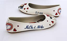 Obuv - svadobné balerinky bozk / farebn - 7236730_