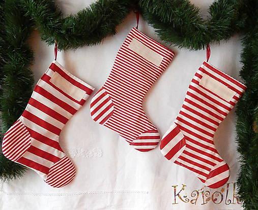 Úžitkový textil - Mikulášske čižmičky - Mikulášske TRIO pásikavé - 7233407_