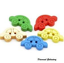 Galantéria - Drevneý gombík autíčko 19x11 mm - 7236044_