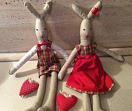 Dekorácie - párik zajac a zajačica - 7235769_