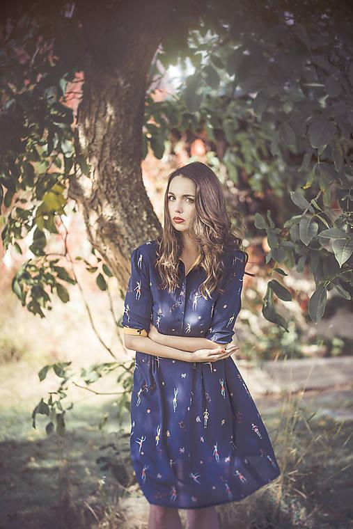 Šaty - Tmavě modré šaty s baletkami - 7233167_