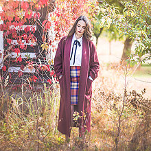 Kabáty - Vínový kabát s šálovým límcem - 7237144_