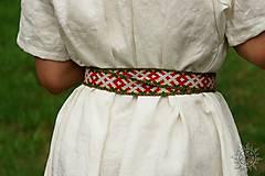 Opasky - Tkaný opasok Orepej (zeleno - červený) - 7234948_