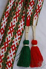 Opasky - Tkaný opasok Orepej (zeleno - červený) - 7234949_