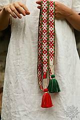 Opasky - Tkaný opasok Orepej (zeleno - červený) - 7234950_