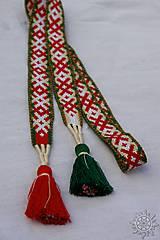Opasky - Tkaný opasok Orepej (zeleno - červený) - 7234953_