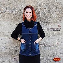 Iné oblečenie - teplá džínová propínací vesta, podšitá fleecem 38,40 - 7235629_